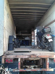 A very early photo of packing the storage trailer